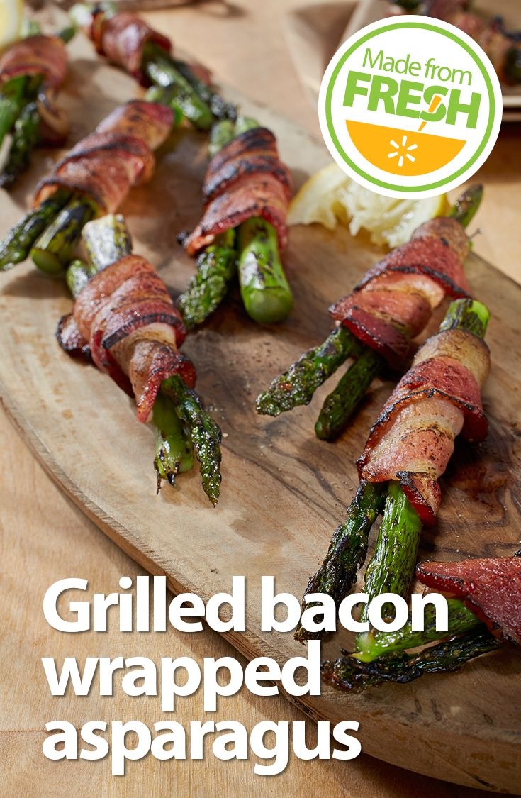 Make an impression at your next cook- out. This tender fresh asparagus wrapped in crispy bacon will have your guests coming back for more.