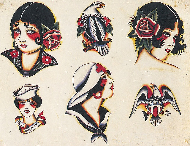Vintage Tattoos by Home and Heart, via Flickr