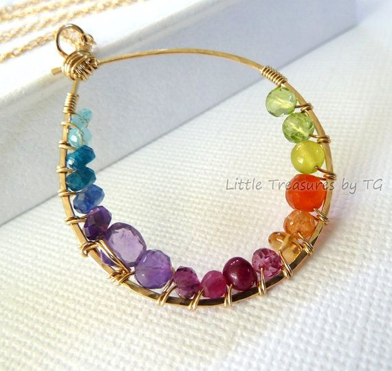 Ready to ship - Rainbow necklace - Inner circle multicolored gemstone gold necklace. Bright jewelry. Statement jewelry. Spring fashion Neon