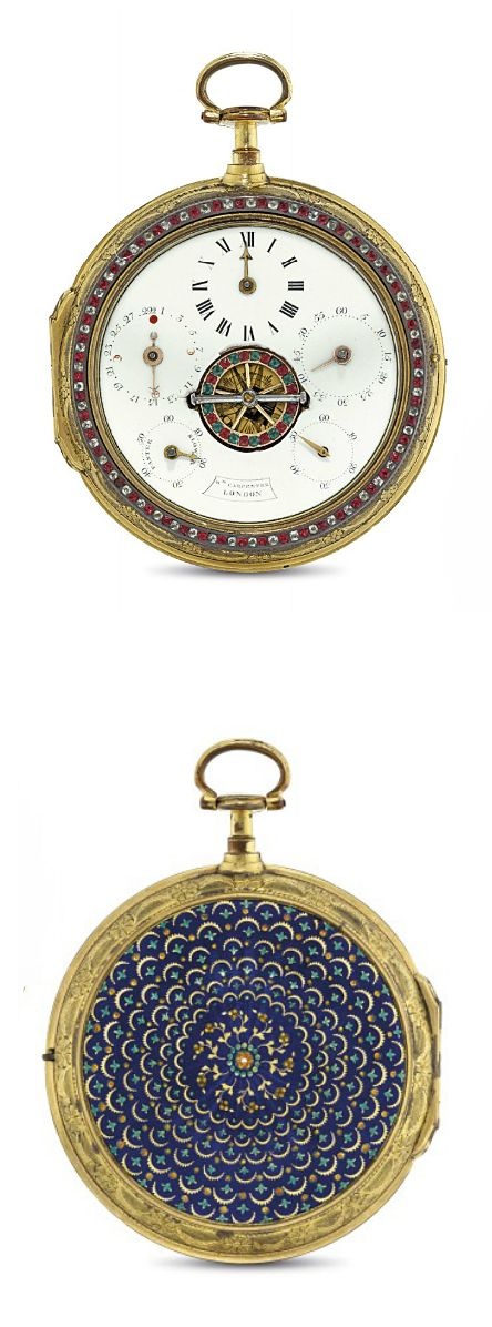 WILLIAM CARPENTER. A FINE AND RARE GILT, EMAMEL AND PASTE-SET PAIR CASED OPENFACE KEYWOUND VERGE COACH WATCH WITH REGULATOR-STYLE DIAL AND MOON PHASES, MADE FOR THE CHINESE MARKET  SIGNED Wm CARPENTER, LONDON, MOVEMENT NO. 4723, CASE STAMPED FM, CIRCA 1790