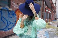 Love this whole combo: navy, mint and gold!  manrepeller.com