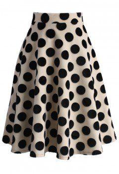 Polka Dots Velvet A-line Midi Skirt - New Arrivals - Retro, Indie and Unique Fashion