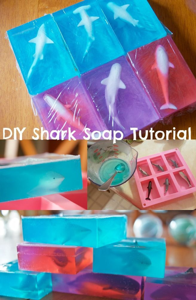 DIY Toy Soap Tutorial - this JAWS inspired shark soap is an awesome gift for kids for shark week or stocking stuffers for Christmas! She shares tips on making your own soap in just a couple of minutes and even shares about those shrink wrap bags to put them in! I could add my own fragrance and colors with flowers!
