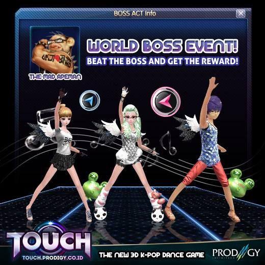 Malam ProGamers!! Crazy ape datang lagi~ Boss bertatto ini siap memberikan banyak reward disaat kalian berhasil mengalahkannya !Mulai malam ini 18 November 2014 - 20 November 2014 .. pukul 20:00 WIB - 21:00 WIB Read More : http://touch.prodigy.co.id/world-boss-crazy-ape/ #prodigyinfinitech #TOUCH #Online #indonesia #dance #casual #3D #musical #music #Korean #Kpop  #teman #sahabat #couple #love #pasangan #pacar #wanita #pria