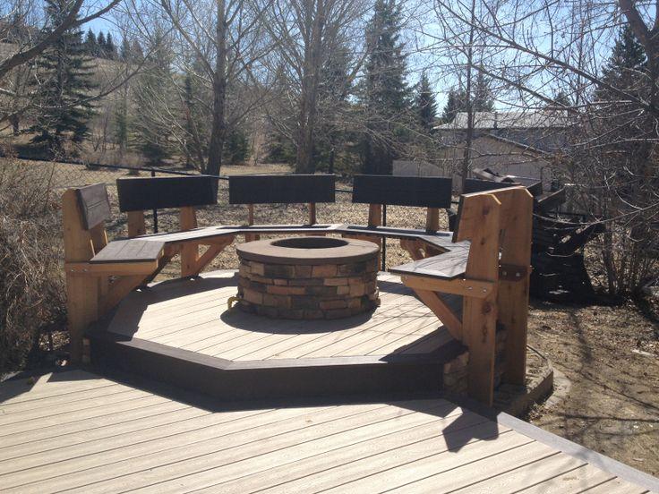 Custom Cedar, Trex & Stone Fire Pit. www.thelittledecker.ca