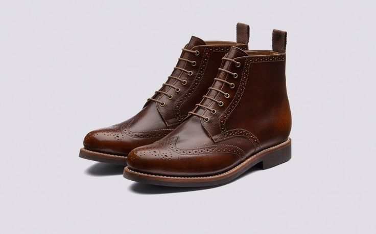 Sharp | Mens Brogue Boot in Vintage Tan Grain Calf Leather with a Dainite Sole | Grenson Shoes - Three Quarter View