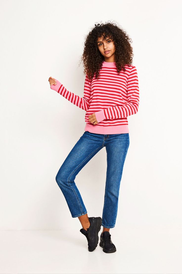 ENTRUFFLE LS KNIT STRIPE 5183, PINK/CANDY RED