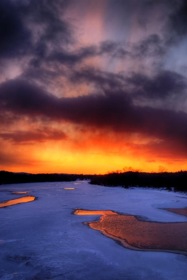 ✯ Icy Hot Sunset in an area close to Parry Sound, Ontario, Canada