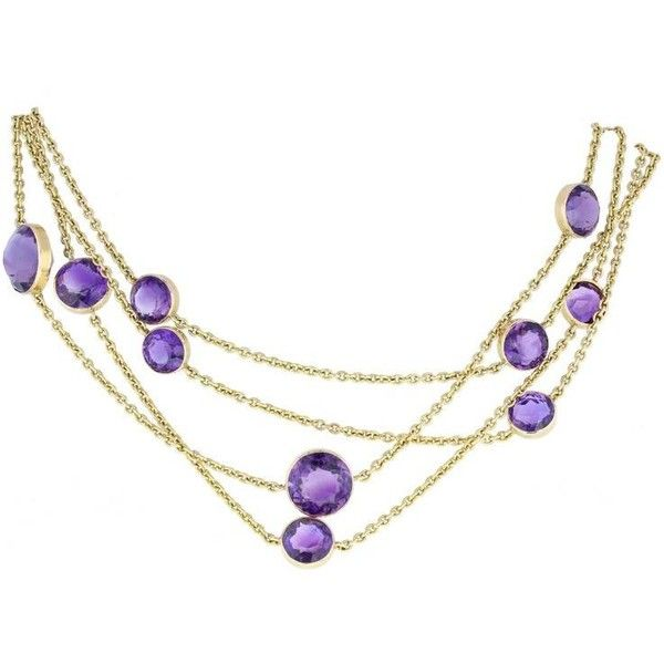 Preowned Antique Amethyst Gold Opera Length Chain ($8,867) ❤ liked on Polyvore featuring jewelry, necklaces, chain necklaces, purple, gold chain necklace, yellow gold chain necklace, antique jewelry, wrap necklace and gold necklace