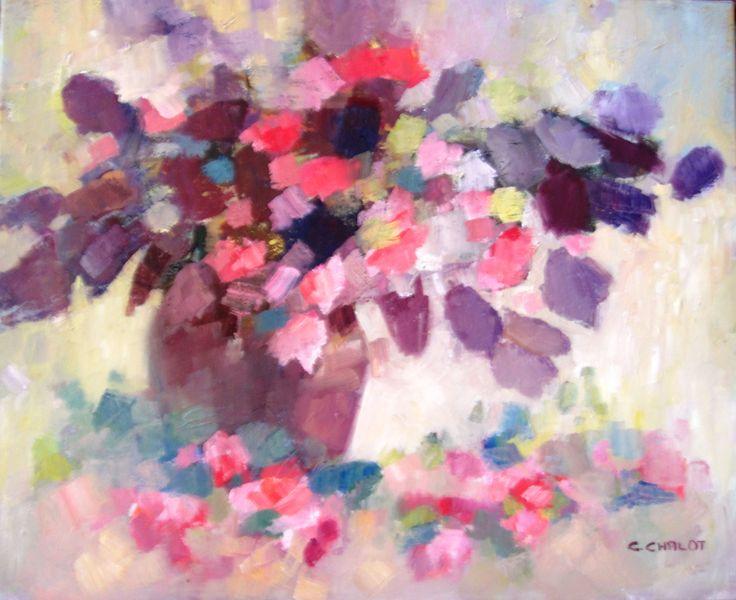 bouquet de roses et feuillage violet huile sur toile 50*61 cm