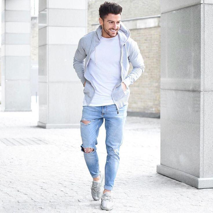 Men's Grey Hoodie, White Crew-neck T-shirt, Light Blue Ripped Jeans, Grey  Canvas Espadrilles