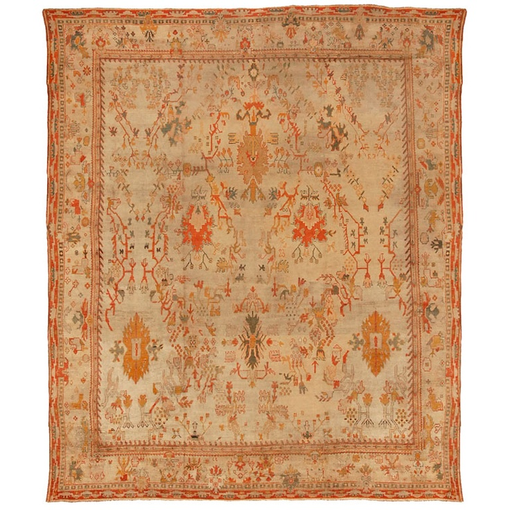 Antique Oushak Rug Turkish From Woven Accents