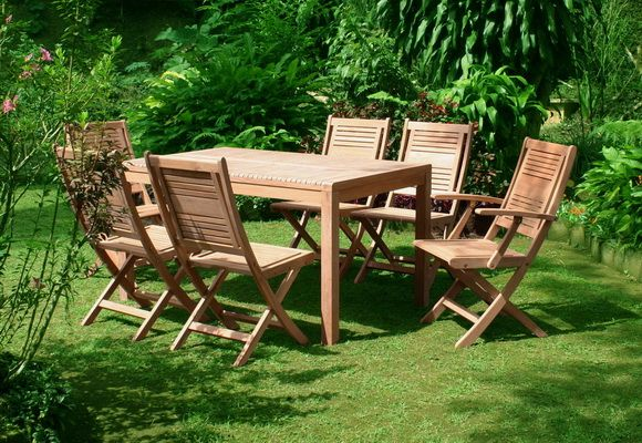 Fresh Outdoor Dining Set. Composed by Folding Chair, Folding Arm Chair, and Independent Dining Table. #teakfurniture #teakwood #outdoor #garden #dining