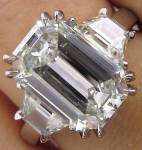 5.01ct Estate Vintage Emerald cut Diamond 3 Stone Engagement Wedding Platinum Ring EGL USA