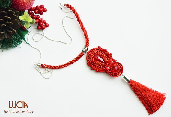 Red soutache necklace by LuciaProducts on Etsy