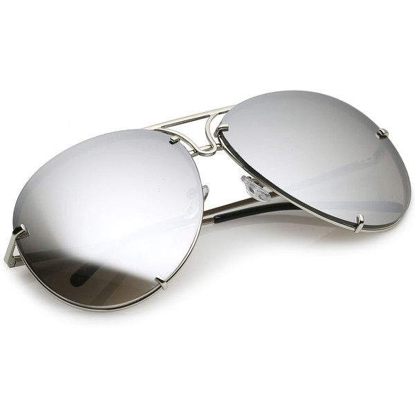 Oversize rimless metal aviator sunglasses slim arms for Miroir 130 x 80