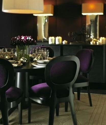 Purple Black Dining Room Design With Linen Round Pendant Lighting Upholstered Chairs Table Box Lights Above