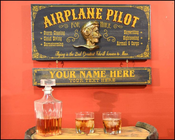 AIRPLANE PILOT Personalized Wood Bar Sign