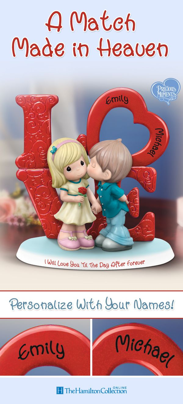 Are you and your sweetheart a match made in heaven? Now you can seal your devotion with a kiss and show your sweetheart your love is forever with this Precious Moments® LOVE couple figurine, featuring the names of you and your sweetie across the symbolic heart.
