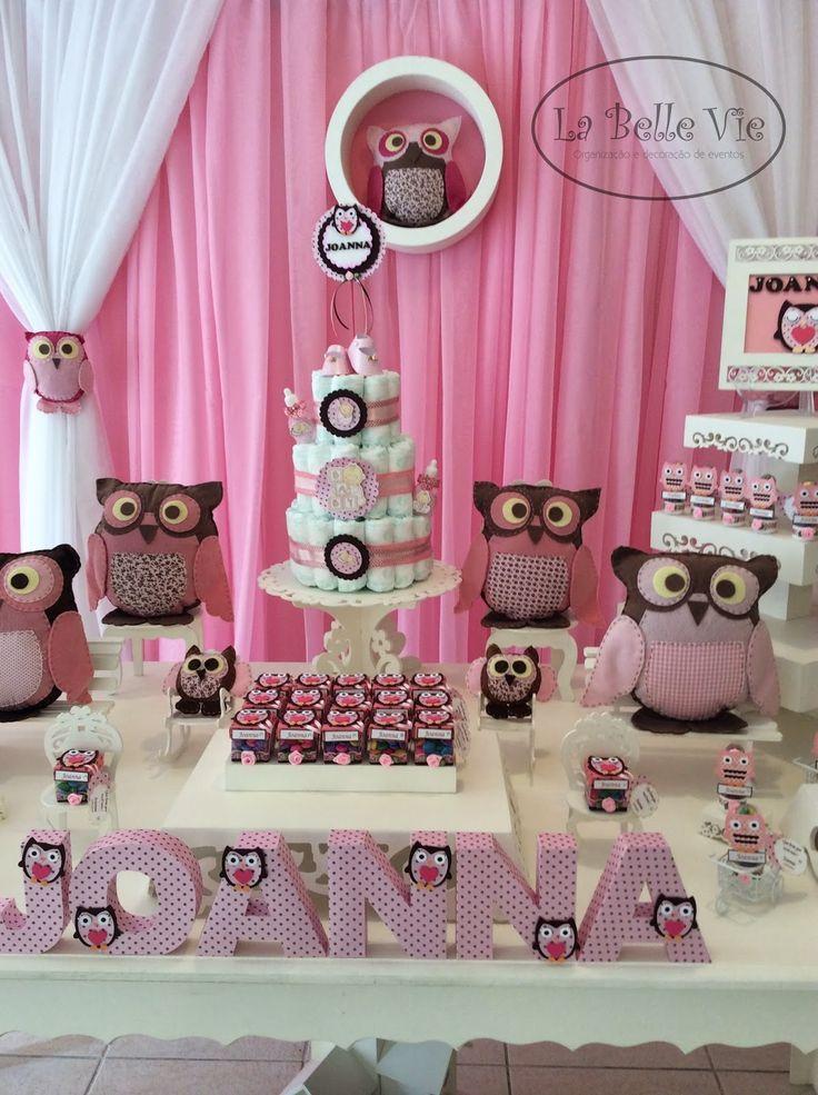 La Belle Vie Eventos: Chá de bebê - Coruja rosa e marrom - Joanna