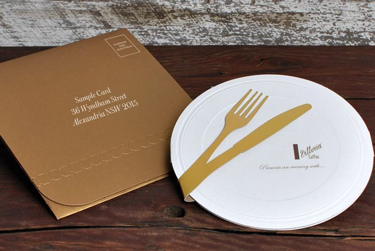 """Vittoria Coffee Invitation. Envelope printed with variable data in white ink onto BJ Ball's Stardream """"Antique"""" gold. Invites printed in 2 PMS colours onto KW Doggett's Strathmore Wove and then embossed, die cut and foiled."""