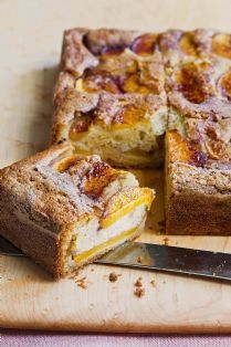 Barefoot Contessa fresh peach coffee cake. This has 40+ 5-star reviews on Food Network.