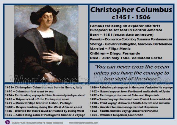 christopher columbus timeline images | Christopher Columbus Profile Information and Timeline Sheet