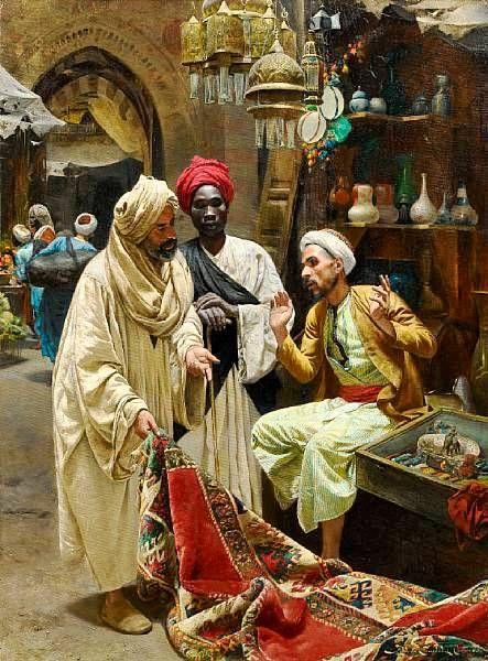 Edwin Lord Weeks (American, 1849-1903) – The Silk Merchants Jean-Léon Gérôme ( 1824 – 1904) – Carpet Merchant in Cairo Francesco Ballesio (Italian Painter , 1860-1923)– The Carpet …