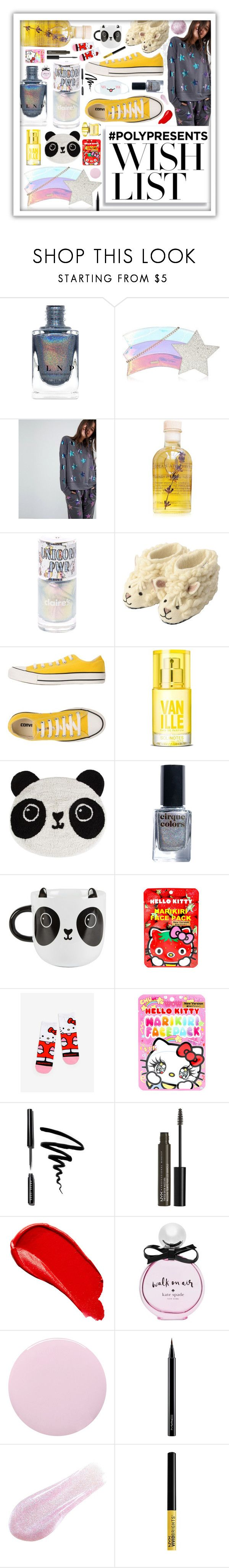 """#PolyPresents: Wish List"" by beanpod ❤ liked on Polyvore featuring ASOS, Lola's Apothecary, Sew Heart Felt, Converse, Sass & Belle, Cirque Colors, Hello Kitty, cutekawaii, Bobbi Brown Cosmetics and NYX"