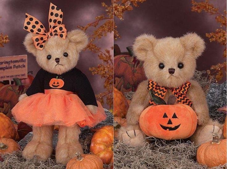 "Bearington Bears Trixie Tutu and Jake Jack O' Lantern Halloween Pumpkin Set, 10"""