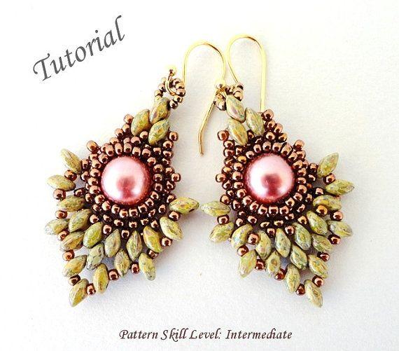 PINEAPPLE superduo beading tutorials and pattern beadwork beaded earrings seed…