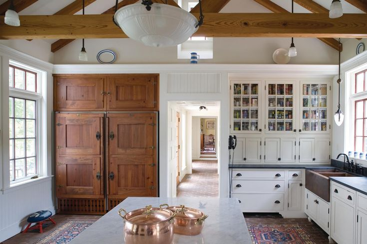 Beautiful Farm Kitchen, Copper Farm sink, open beams, disguised refrigerator/ice box, vintage kitchen, farm kitchen...