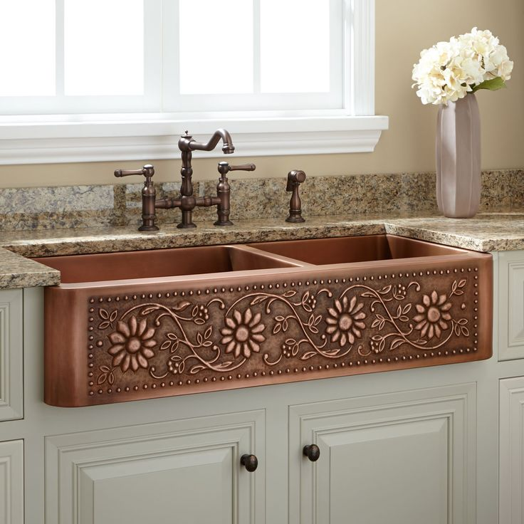 """33"""" Hammered Copper 60/40 Offset Double-Bowl Farmhouse Sink - Small Bowl Right - Kitchen Sinks - Kitchen"""