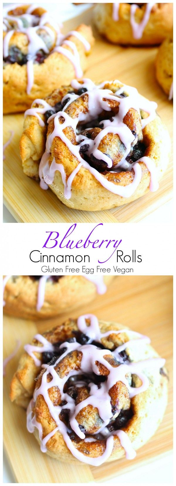Gluten Free Blueberry Cinnamon Rolls Recipe (Gluten Free Vegan dairy free egg free)- Soft and sweet gluten free cinnamon buns with real blueberries. Hard to believe they are dairy free and food allergy friendly too!