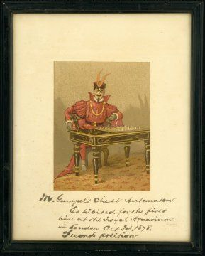 """The third known #chess playing automaton in the world was created by Charles Godfrey Gumpel in the 19th century. It took #Gumpel about seven years to create the chess playing machine. """"Mephisto"""" was represented as a man in an """"oriental"""" style #red #costume, sitting at a chess table.  Today, a brand of chess computer bears the name """"Mephisto,"""" in homage to this remarkable feat of engineering."""