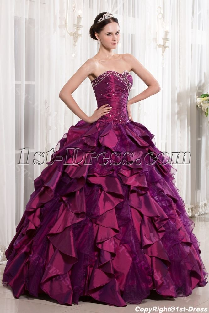 1st Dress Offers High Quality Luxury Sweet Fuchsia 2017 Quinceanera Priced