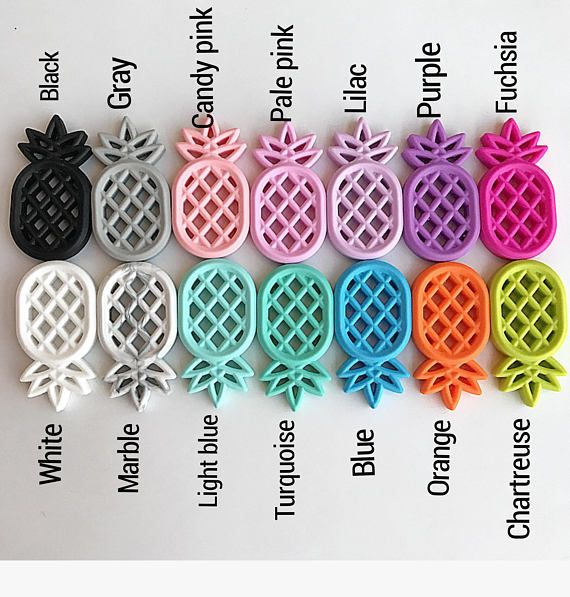 Silicone Teether Pineapple Size : 84*45*13 mm Color Mint / Yellow Baby Teething Beads BPA Free Food Grade Silicone Teething Beads Silicone Baby Teething Beads The silicone teething beads is mainly necklace jewelry product for teething baby and nursing mommy. The material of our