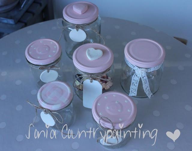 Sonia Countrypainting e Torta di Mele: * CUPCAKE COUNTRYCHIC * Riciclo barattoli vetro con pittura country e gessi