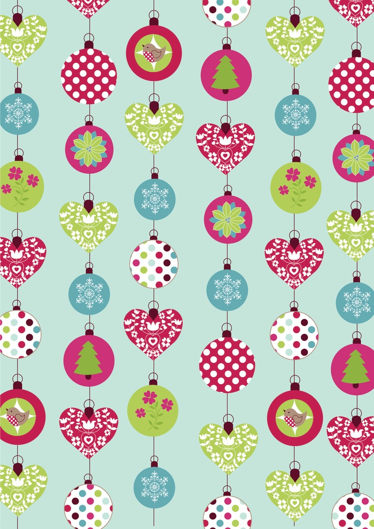 Free Download: Christmas baubles paper in fresh and bright colourways