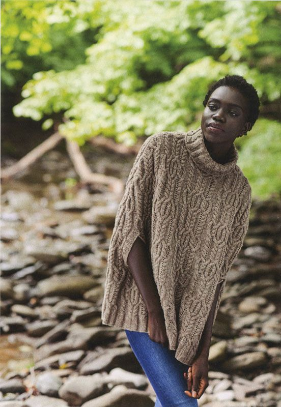 Vale from Brooklyn Tweed: This poncho packs a punch with intricate cables and a beautiful shape! For finished chest measurements of 35.5 (43, 51, 58.5) inches, you will need 10 (12, 15, 17) skeins of Brooklyn Tweed's Shelter. You will also need US #7, 16-inch and 32-inch circular needles (OR size needed to obtain gauge); and 16- and 32-inch needles two sizes smaller than gauge needle. Gauge is 6.25 stitches per inch. Shown here in the color Barn Owl. $11.00