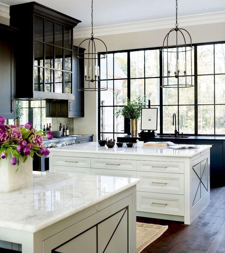 Black Upper Cabinets White Lower Kitchen Remodel Kitchen Design Kitchen Inspirations
