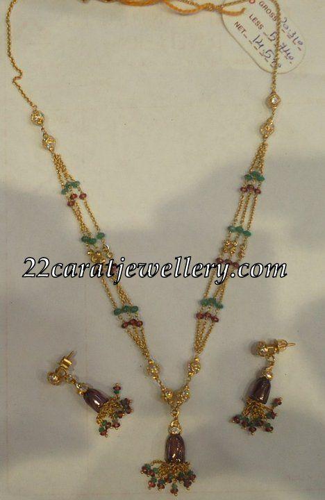14 grams light weight gold set beads jewellery gold