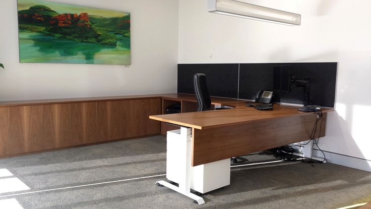 Hi-Lo sit stand executive desk. Designed & manufactured by Burgtec. (HIF Health Insurance project)