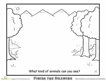Worksheets: Finish the Drawing: What Kind of Animals Can You See?