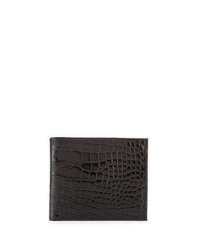 Neiman+Marcus+Alligator+Bi+Fold+Wallet+Black+|+Bag