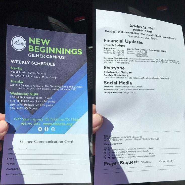 New Beginnings Baptist Church bulletin. Gilmer Texas campus.