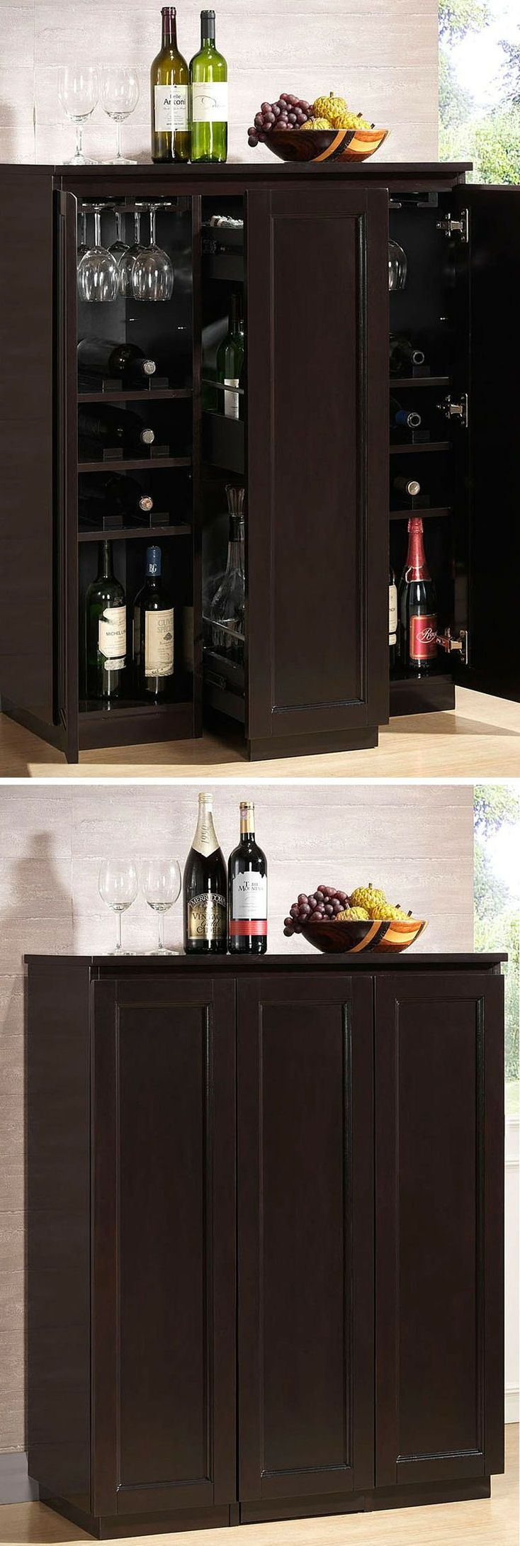 Enclosed Modern Bar Cabinet // #furniture #wine #spacesaving  I like the idea of hiding away the bare ware & liquor, I'm not a fan of it sitting out everywhere and getting dusty