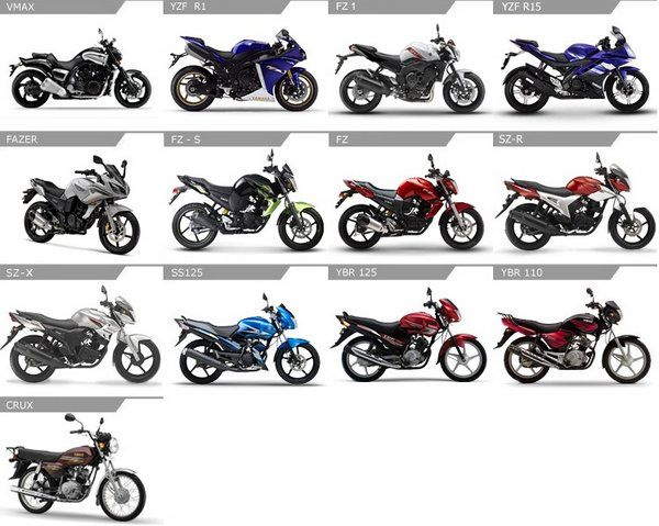 Yamaha India portfolio includes 13 motorcycles – Crux, SZ-X, SS125, YBR 125, YBR 110, Fazer, FZ-S, FZ, SZ-R, YZF R15, FZ1, YZF R1, and VMAX.
