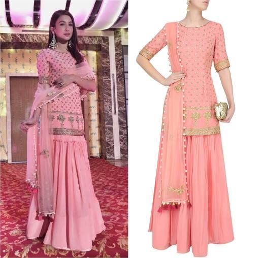 Gauhar Khan in MonikaNidhii's Pink Floral Embroidered Motifs Short Kurta And Sharara Skirt Set.   #getthelook #gauharkhan #monikanidhii #ethnicwear #celebcloset #celebstyle #indiandesigners #indianfashion #shopnow #perniaspopupshop #happyshopping