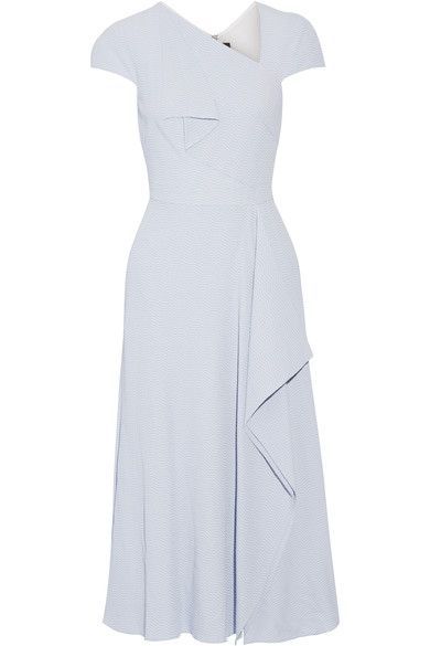 Roland Mouret - Elliot Draped Cloqué Midi Dress - Sky blue - UK14